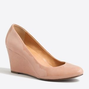 J. CREW MARTINA NUDE TAN PATENT LEATHER WEDGES 9